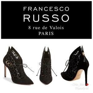 Francesco Russo Black Leopard Bootie